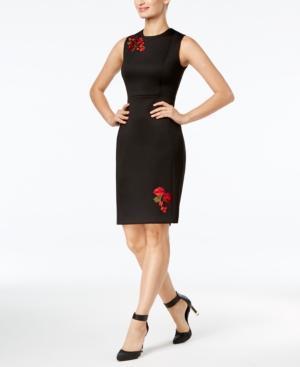 Calvin Klein Embroidered Applique Sheath Dress In Black