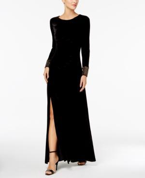 Calvin Klein Velvet Jeweled-Cuff Gown In Black