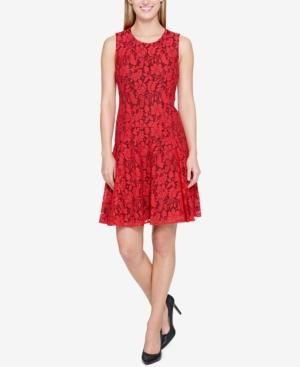 Tommy Hilfiger Drop-Waist Lace A-Line Dress, Created For Macy's In Red/Black