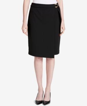 Calvin Klein Buckled Faux-Wrap Skirt In Black