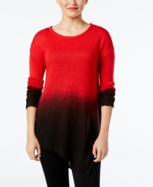 Vince Camuto Dip-Dyed Asymmertical-Hem Sweater In True Crimson