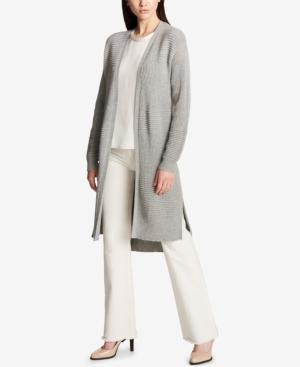 Dkny Ribbed Duster Cardigan In Light Heather Grey