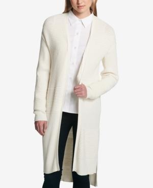 Dkny Ribbed Duster Cardigan In Ivory