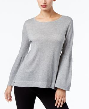 Calvin Klein Bell-Sleeve Sweater, A Macy's Exclusive Style In Heather Granite