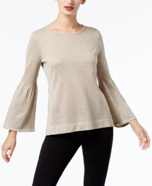 Calvin Klein Bell-Sleeve Sweater, A Macy's Exclusive Style In Heather Latte