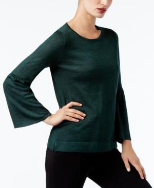 Calvin Klein Bell-Sleeve Sweater, A Macy's Exclusive Style In Malachite