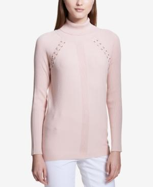 Calvin Klein Ribbed Turtleneck Sweater In Light Pink