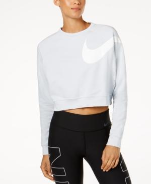 Nike Dry Cropped Training Top In Pure Platinum/White