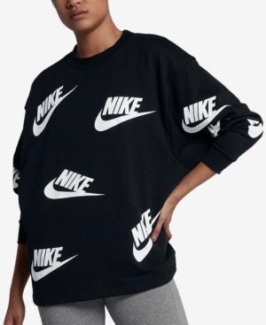 Nike Sportswear Futura Logo-Print Long-Sleeve Top In Black/White