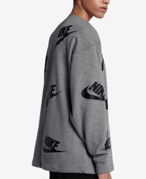 Nike Sportswear Futura Logo-Print Long-Sleeve Top In Carbon Heather/Black