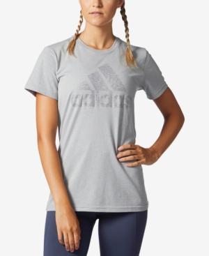 Adidas Originals Adidas Metallic Logo T-Shirt, Macy's Exclusive Style In Medium Grey Heather/Silver