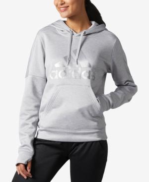 Adidas Originals Adidas Metallic-Logo Fleece Hoodie, Macy's Exclusive Style In Grey/Silver