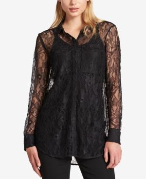 Dkny Lace Blouse In Black
