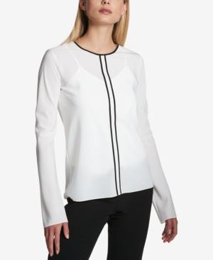 Dkny Piped Top In White/Black