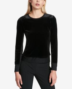Dkny Mixed-Media Layered-Look Top In Black