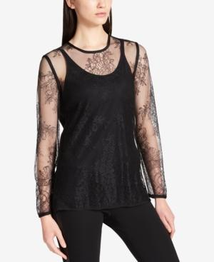 Dkny Floral Lace Top In Black