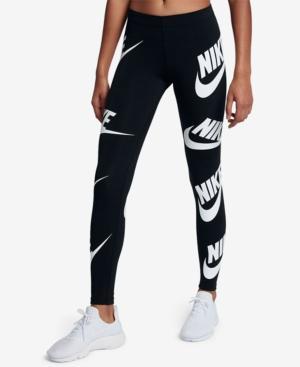 Nike Sportswear Graphic Leggings In Black/White