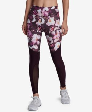 Nike Power Legend Printed Mesh-Inset Leggings In Port Wine/Black