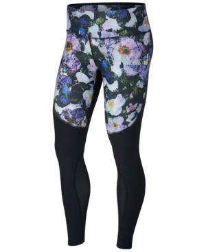Nike Power Legend Printed Mesh-Inset Leggings In Blue/Black