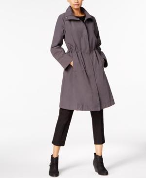 Eileen Fisher Stand-Collar Drawstring Jacket In Bark