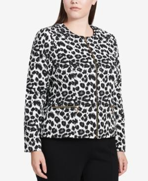 Calvin Klein Plus Size Animal-Print Blazer In Black/Cream