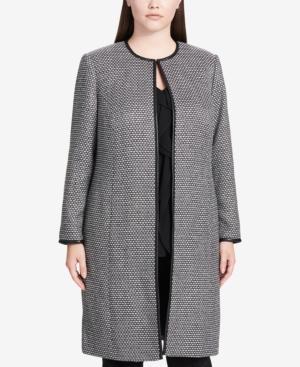 Calvin Klein Plus Size Faux-Leather-Trim Topper Jacket In Black/Cream