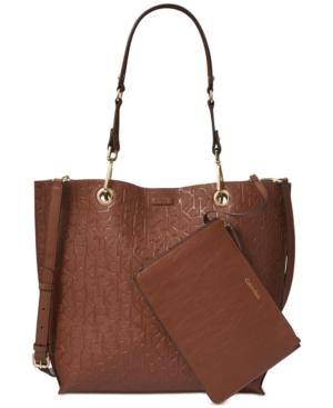 Calvin Klein Sonoma Reversible Signature Extra-Large Tote In Luggage