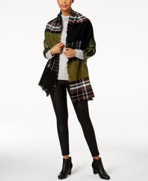 Steve Madden Camouflage Plaid Blanket Wrap & Scarf In One In Olive