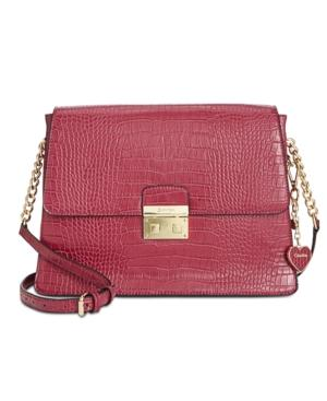 Calvin Klein Embossed & Saffiano Medium Crossbody In Pomegranate