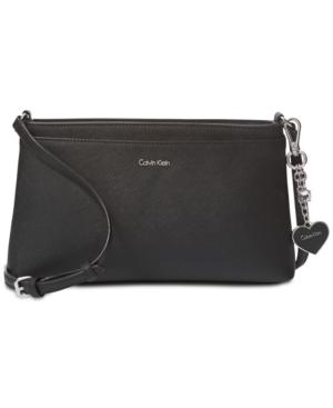 Calvin Klein Saffiano Medium Crossbody In Black