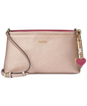 Calvin Klein Saffiano Medium Crossbody In Rose Gold
