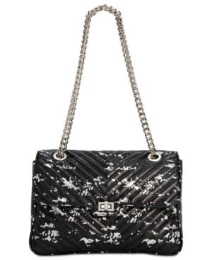 Steve Madden Bonds Splatter Paint Medium Flapover Crossbody In Silver