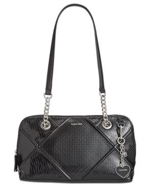 Calvin Klein Medium Shoulder Bag In Black Silver