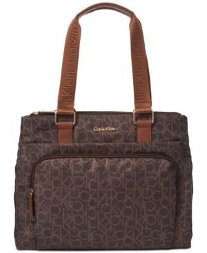 Calvin Klein Vanessa Large Tote In Brown/Khaki Photoprint/Luggage