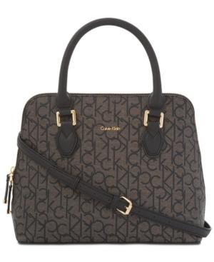 Calvin Klein Ellina Signature Medium Satchel In Textured Khaki/Black/Black Saffiano