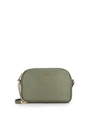 Furla Miky Pebbled Leather Crossbody Bag In Navy