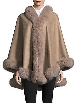 Belle Fare Dyed Fox Fur Cape In Oatmeal