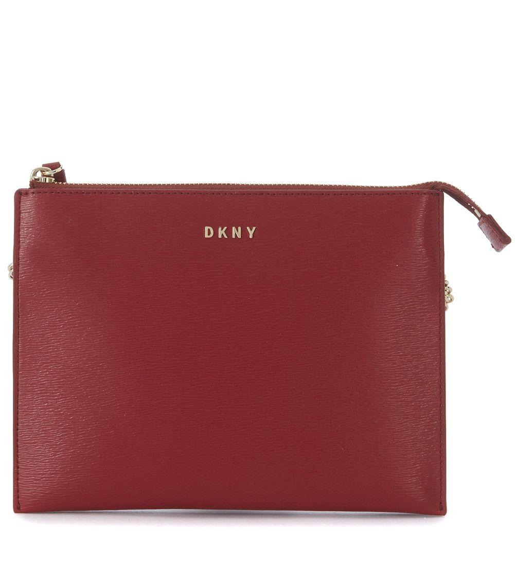 Dkny Flat Red Saffiano Leather Shoulder Bag In Rosso