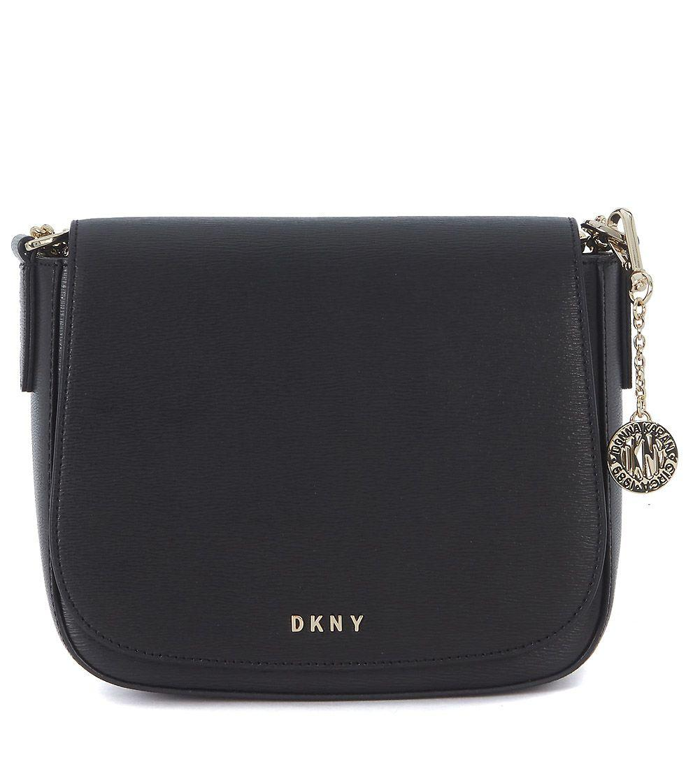 Dkny Medium Black Saffiano Leather Shoulder Bag In Nero