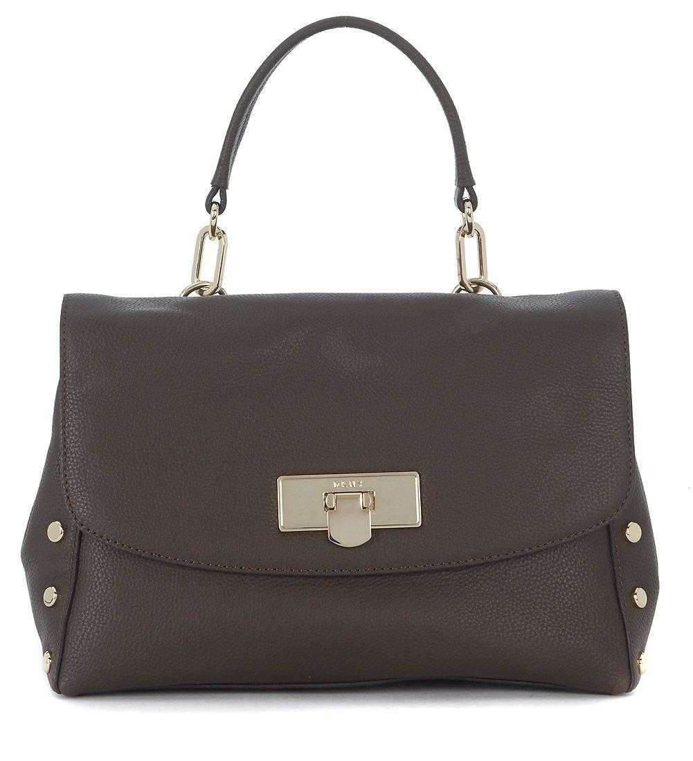 Dkny Medium Brown Tumbled Leather Handbag With Studs In Marrone