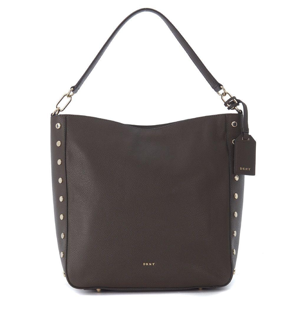 Dkny Hobo  Big Brown Tumbled Leather Bag In Marrone