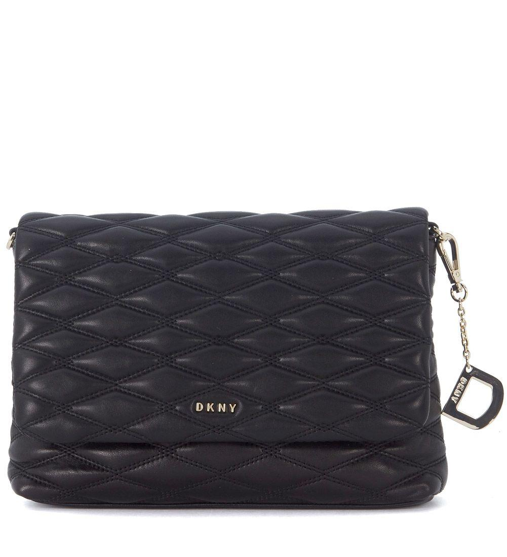 Dkny Black Leather Matelassè Shoulder Bag With Stitchings In Nero