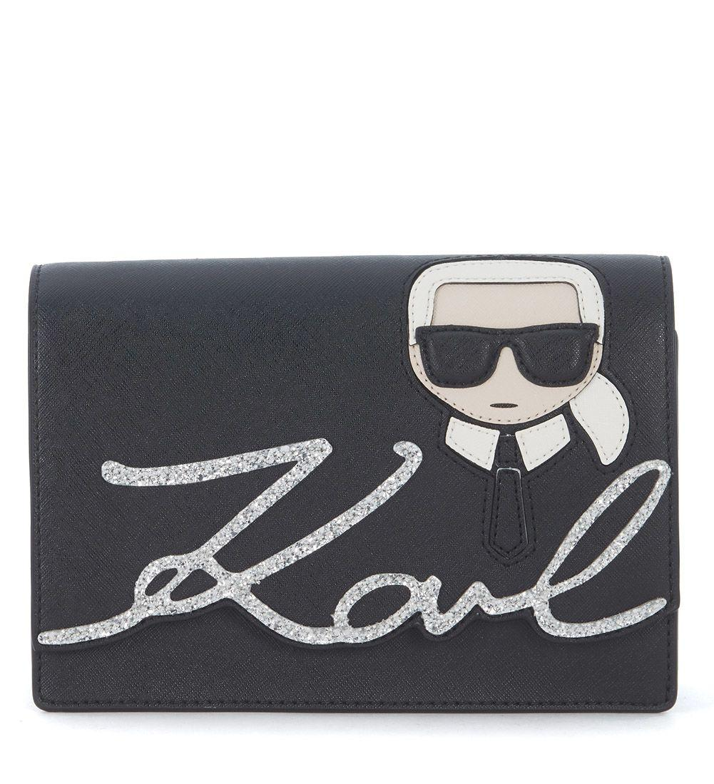 Karl Lagerfeld Ikonik Shoulder Bag With Glitter And Embroidered Print In Nero