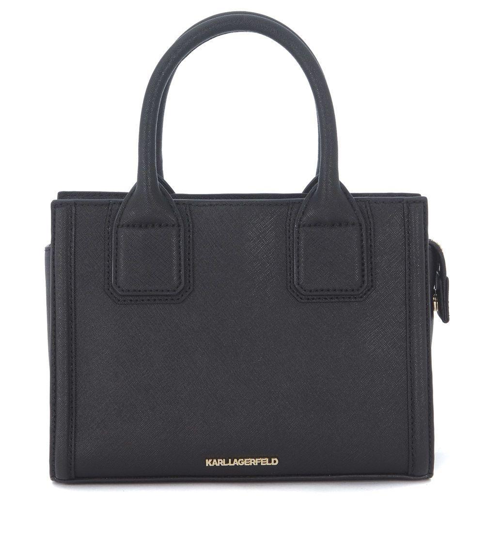 Karl Lagerfeld Klassic Black Saffiano Leather Handbag In Nero