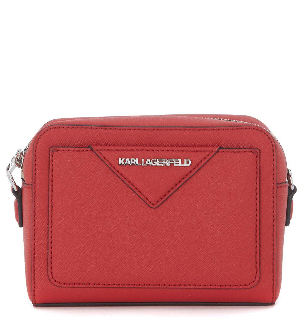 Karl Lagerfeld Red Saffiano Leather Shoulder Bag In Rosso