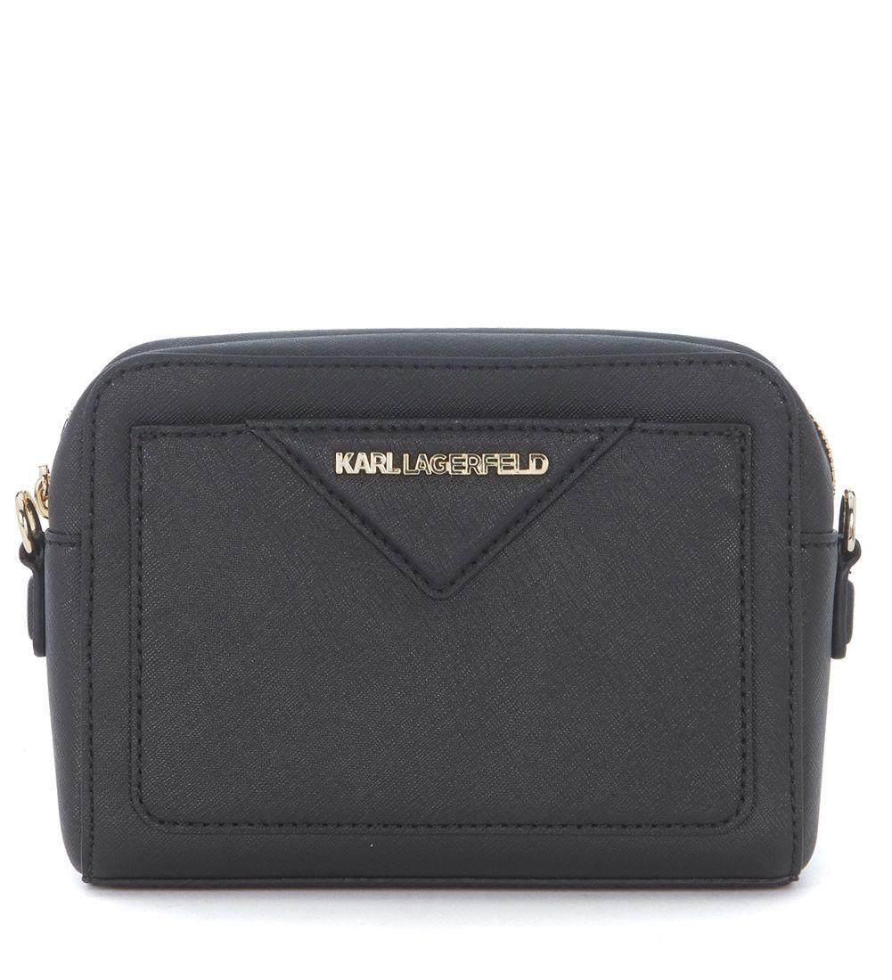 Karl Lagerfeld Black Saffiano Leather Shoulder Bag In Nero