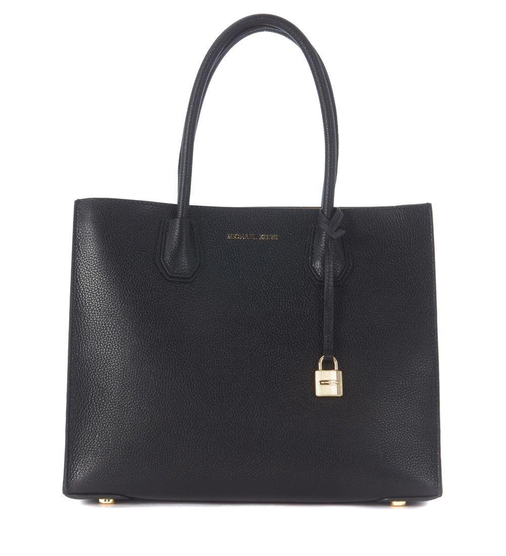 Michael Kors Mercer Black Leather Tote Bag In Nero