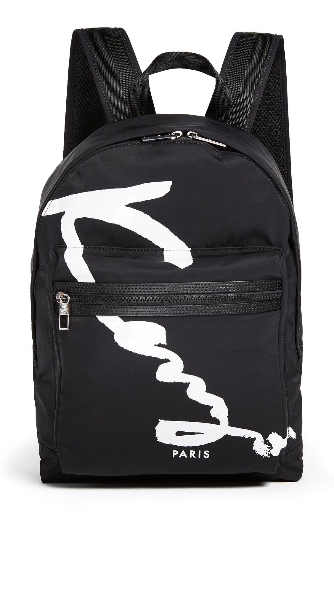 Kenzo Nylon Signature Backpack In Black