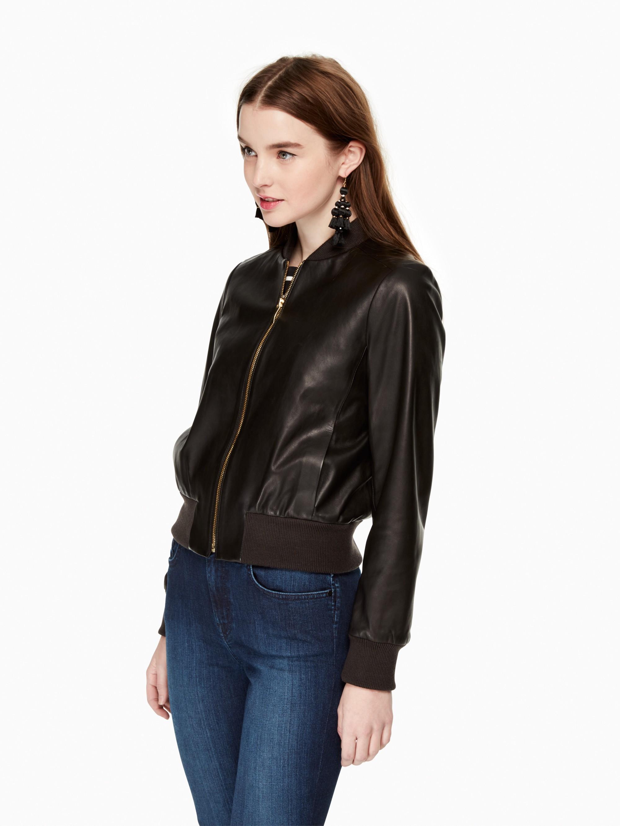 Kate Spade Leather Bomber Jacket In Black