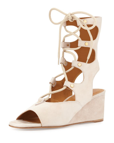 ChloÉ Gladiator Lace-Up Suede Wedge Sandals In Cream Puff